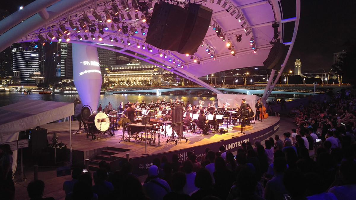 Weekend music performance at Esplanade Outdoor Theatre.