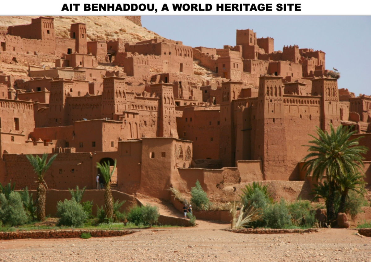 Aït Benhaddou is an ighrem (fortified village in English) (ksar in Arabic), along the former caravan route between the Sahara and Marrakech in present-day Morocco.