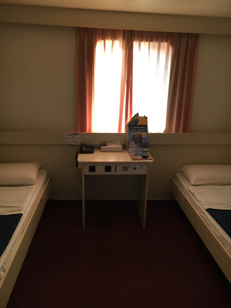 Anek Lines - double beds in the cabin with a window
