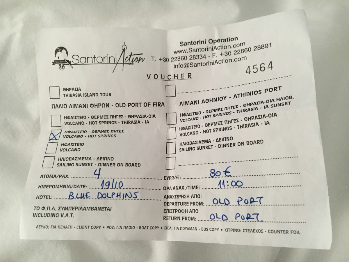 Tour booking receipt - there are many types of tours available at Santorini