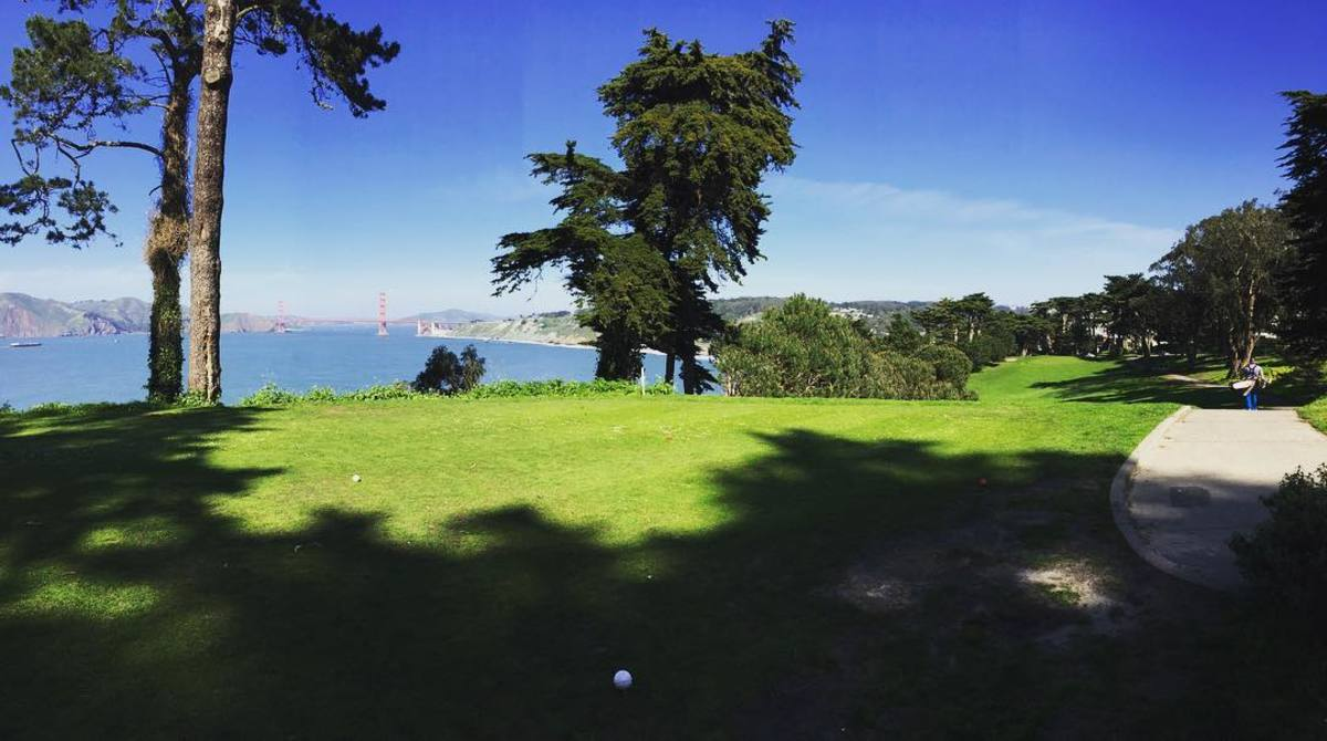 Picturesque view of the Golden Gate Bridge from 17th tee box at Lincoln Park G.C.