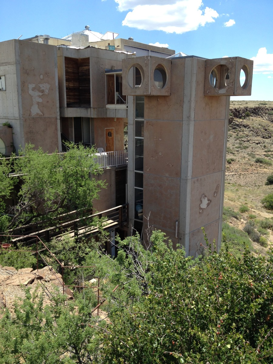 Three story visitor entrance to Arcosanti.  To save space there are no roads inside the complex.  There are also no elevators or escalators within Arcosanti in its current state.
