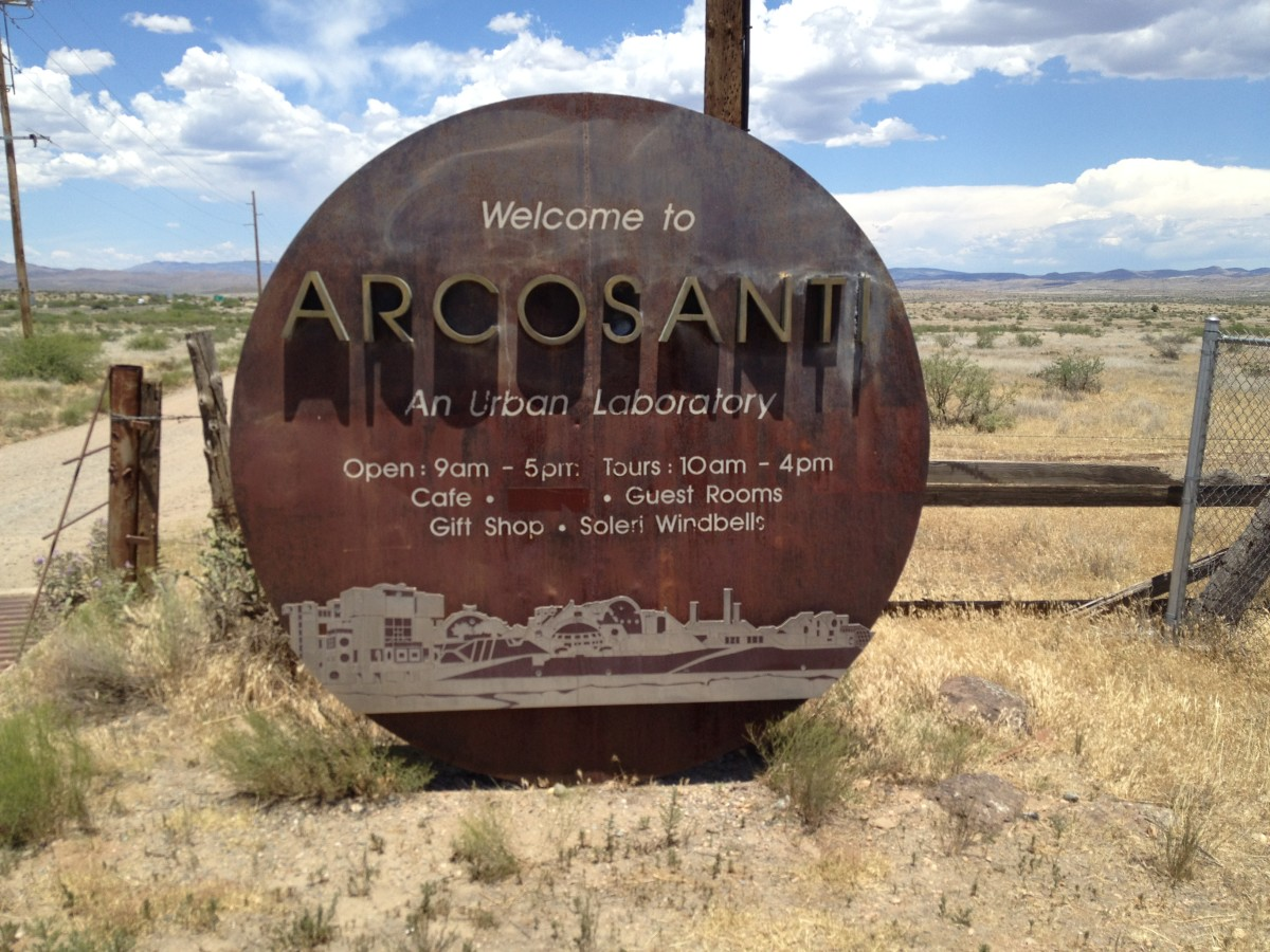 Sign at entrance of dirt road leading to Arcosanti.