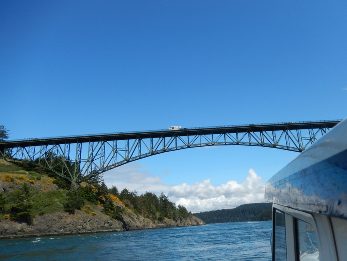 The view from our small boat's pilot house shows the fine lines of Deception Pass Bridge on Highway 20, spanning the strait between Fidalgo Island and Whidbey Island, leading to Cornet Bay.