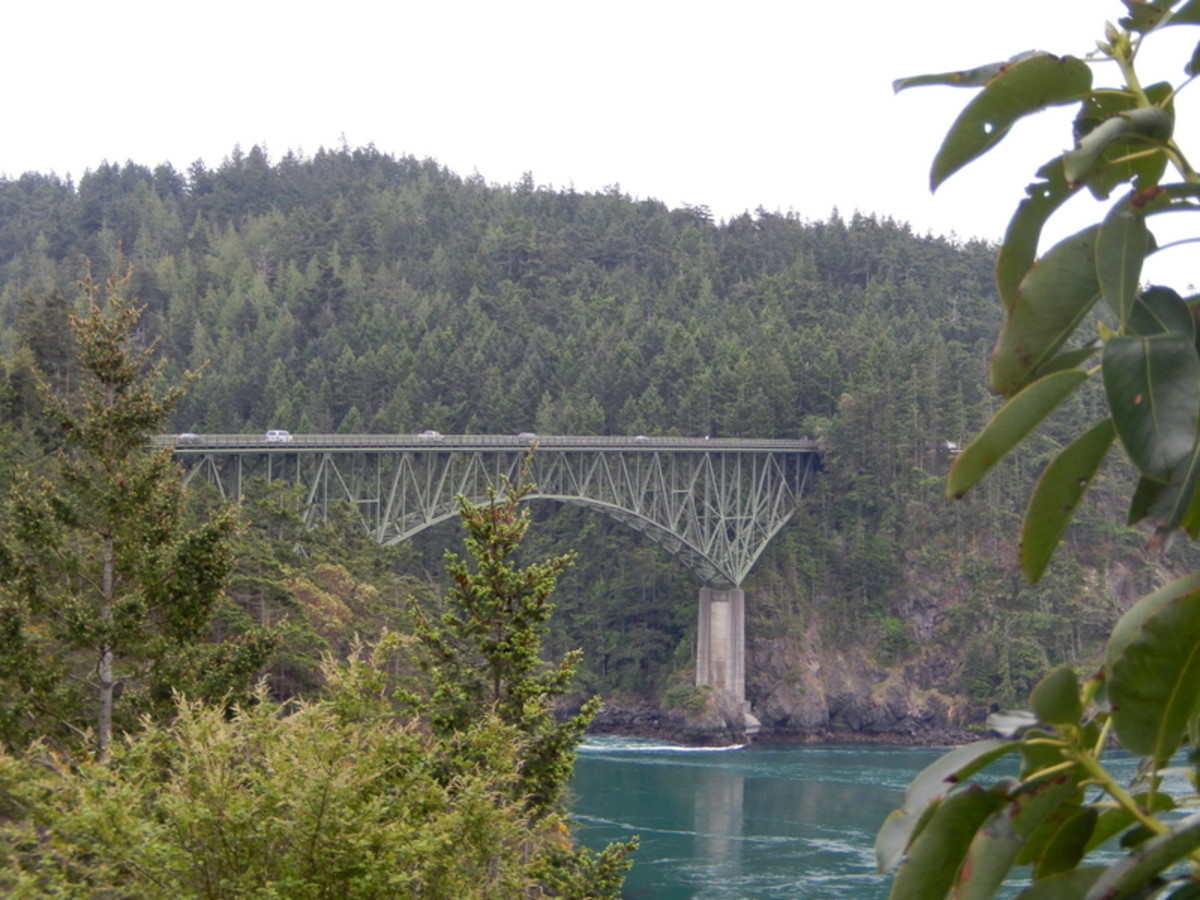A view from the south end of of Deception Pass Bridge on Hwy. 20 over the narrow strait between Fidalgo Island and Whidbey Island.