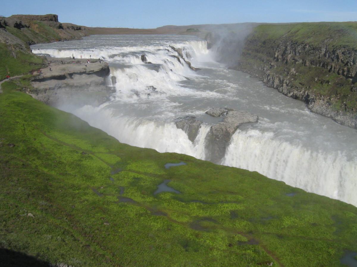 The ground around waterfalls is always wet.