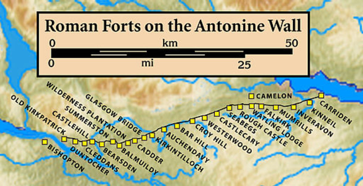 Roman forts on the Antonine Wall - most of which have left no trace