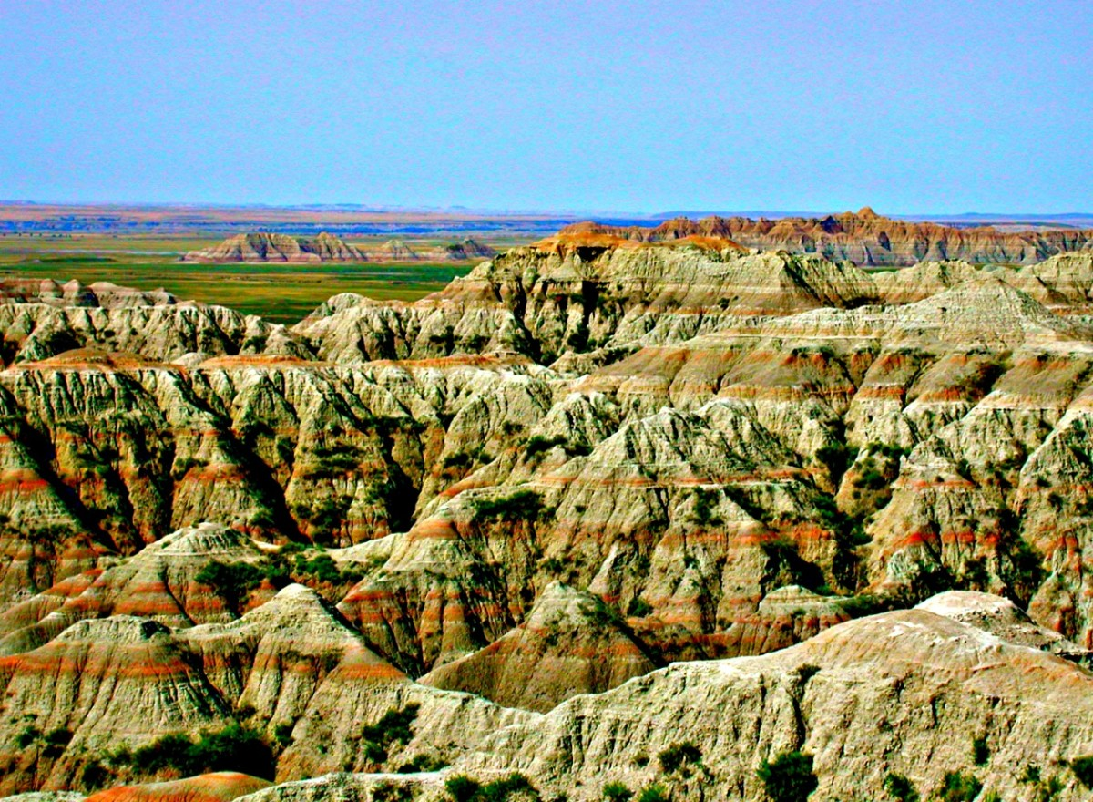The Badlands National Park is located in South Dakota and offers an interesting and educational look into the old West.