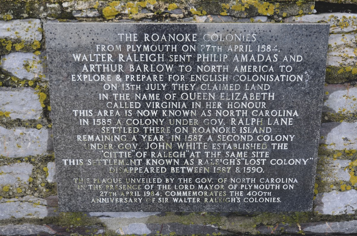 A plaque to commemorate the establishment of the Roake Colonies in the 'New World'