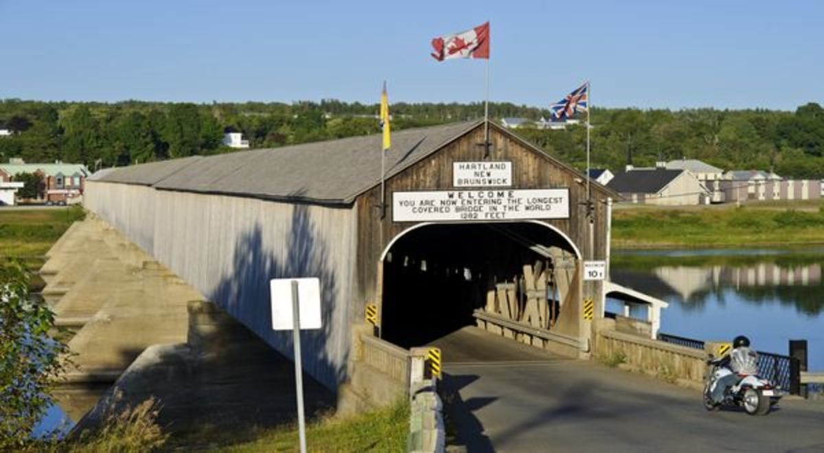 The Hartland Bridge, the Worlds Longest Covered Bridge, Hartland, New Brunswick