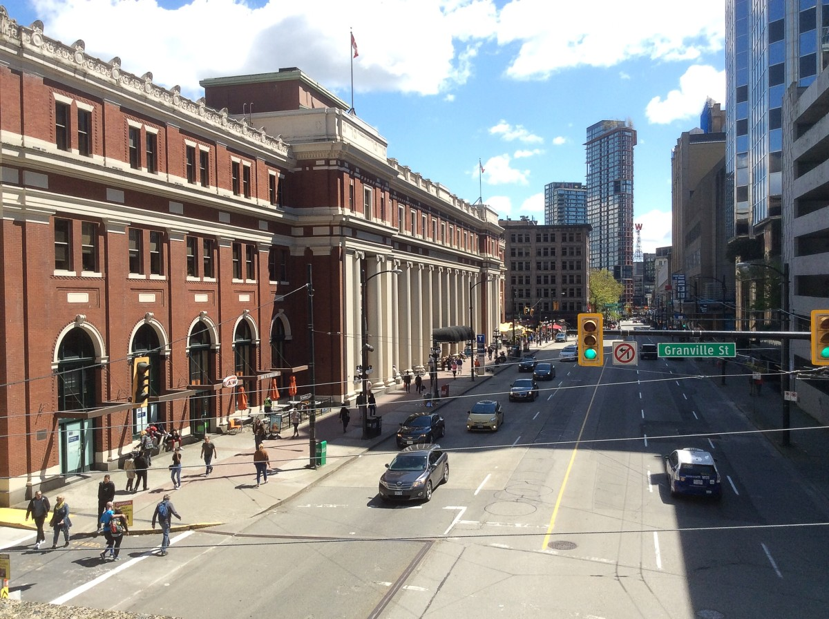 The Waterfront SkyTrain Station (on the left of the photo) is a good place to begin a tour of downtown Vancouver.