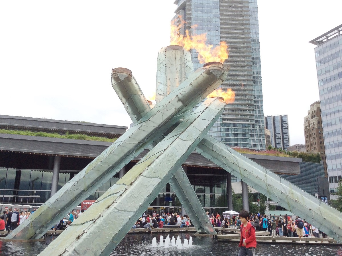 The cauldron is lit for Canada Day.