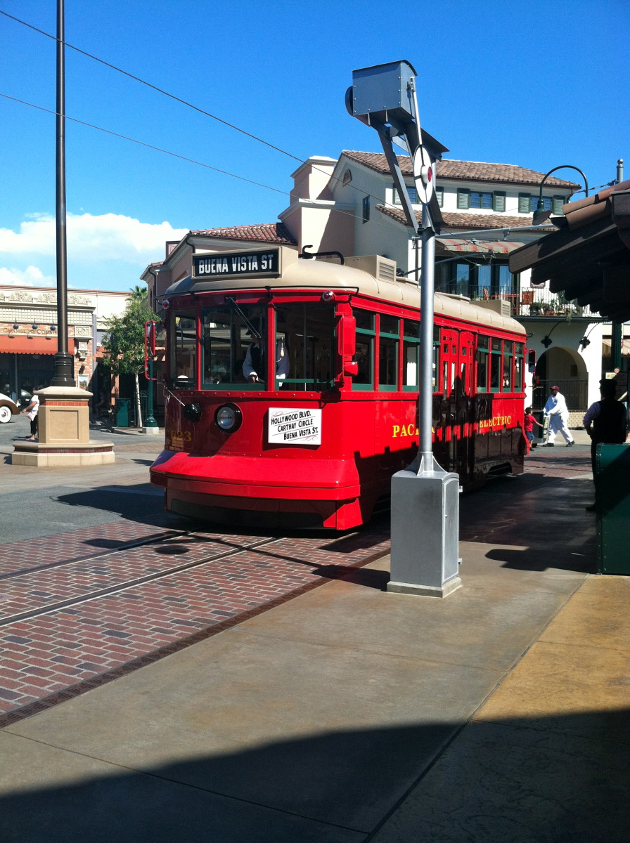 Here is a Red Trolley Car on Buena Vista Street inside California Adventure.