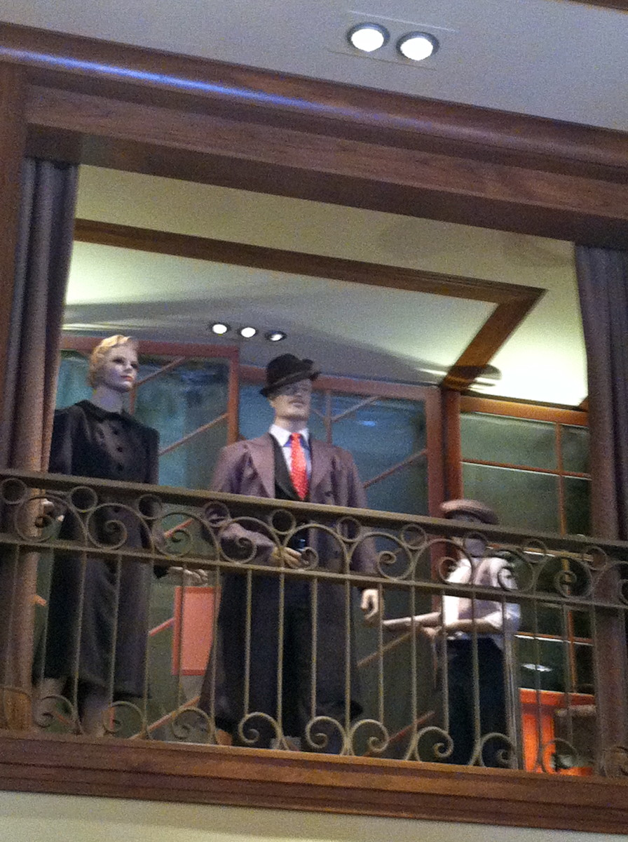 Here is the replica suit on display inside of Elias and Co.