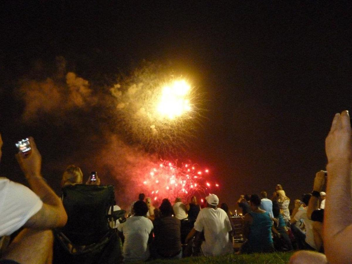 4th July fireworks display on the New Orleans waterfront