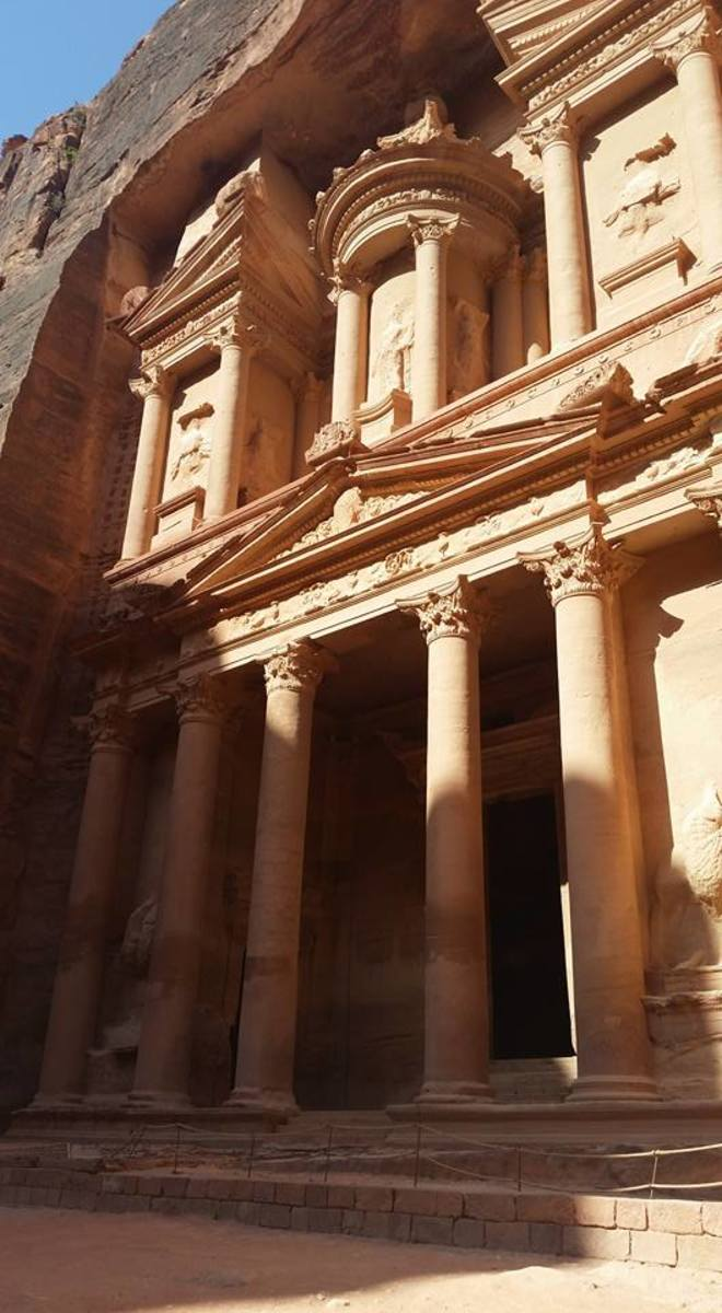 The City of Petra is an ancient city that was carved out of stone in valleys.  This is one of the most well preserved buildings and has been featured in several movies, such as Indiana Jones.