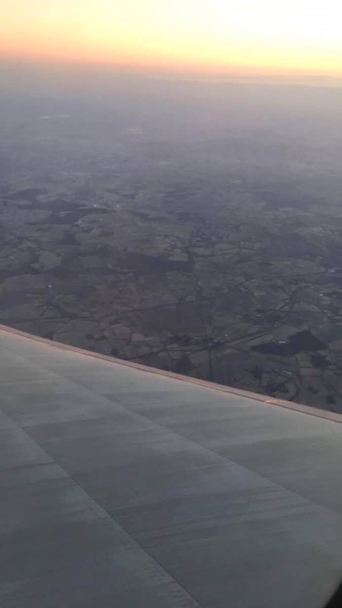 The view from my flight coming into Heathrow Airport in London, England.