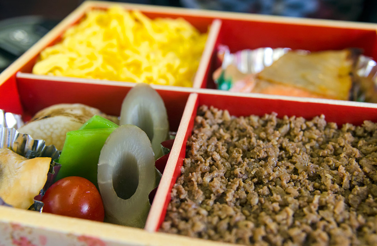 An exotic, lovely Ekiben bento meal sold at Nagano train station. Such meal boxes are perfect for any solo trip to Japan.