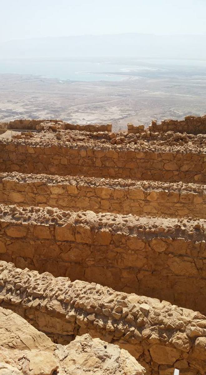 This is a very large and famous archaeology site that is up on top of a hill and overlooks the Dead Sea.