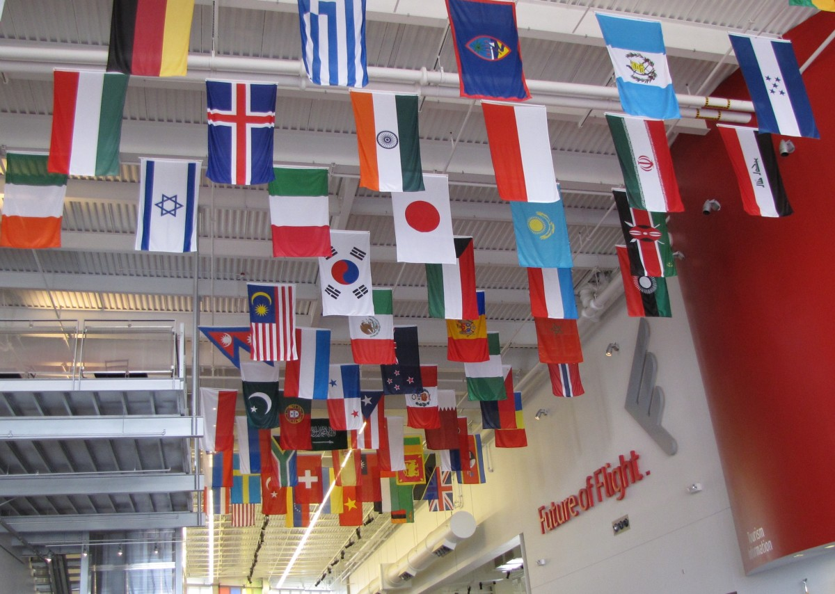 Future of Flight Center - Flags representing countries of Boeing customers