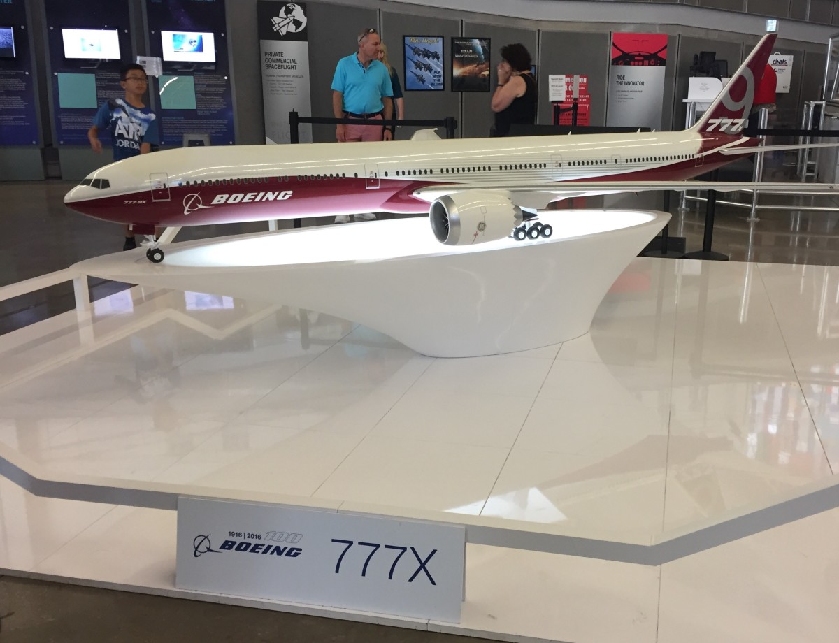 The Boeing 777X, scheduled to enter production in 2020
