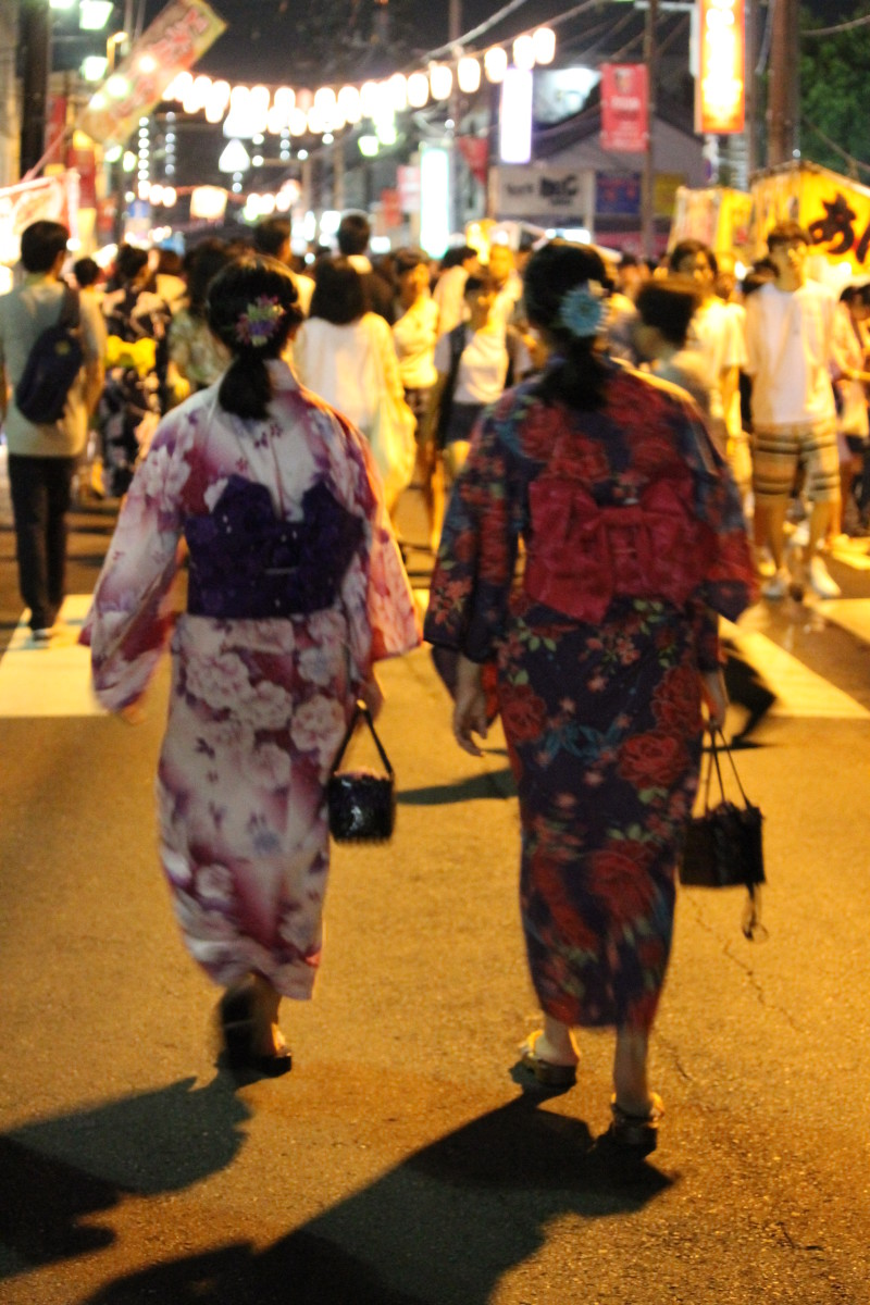 Wearing the traditional Yukata is a popular garb for festival time.