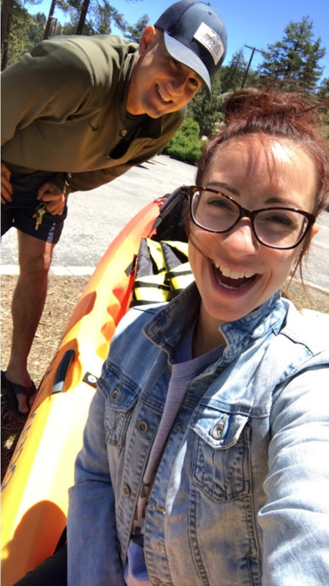 Getting ready to take the kayak into the lake.
