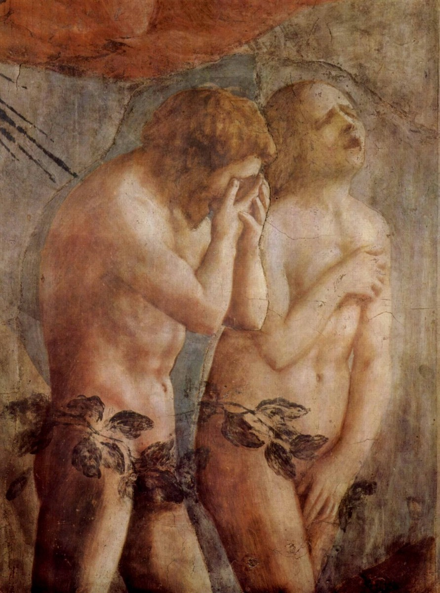 Masaccio. Expulsion from the Garden. Brancacci Chapel. The leaves were overpainted and later removed during the restoration in the 1980s.