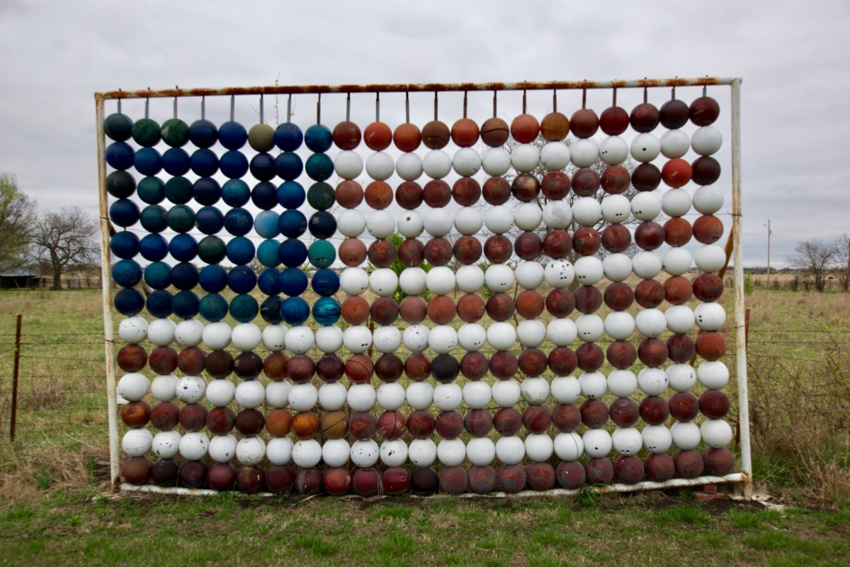 American Flag Made From Bowling Balls