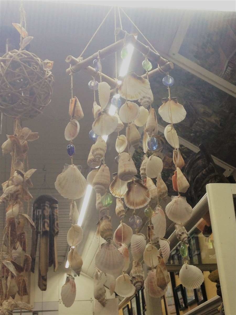 Shopping for crafts like this wind chime made from seashells is a great thing to do at Devon House after a tour of the historic house.