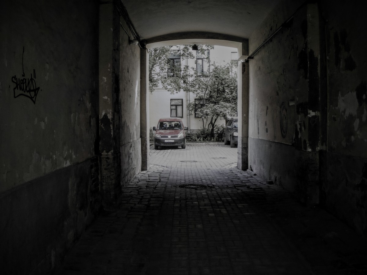 A peak of Raskolnikov's spooky courtyard through the gates.