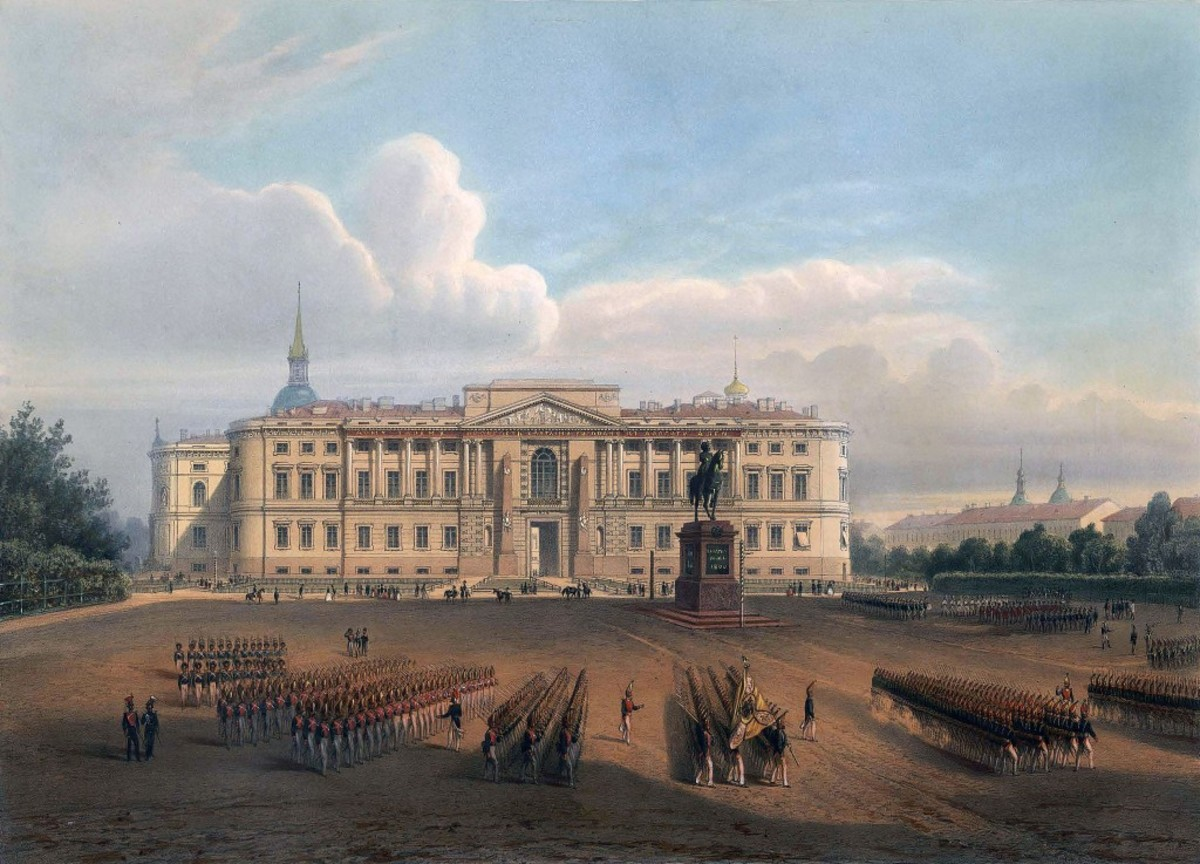 The Mikhailovsky Palace (St. Michael's Castle) was Dostoevsky's first address in St. Petersburg. It housed the Military Engineering Academy where he spent his first six years in the city. 19th century lithograph.