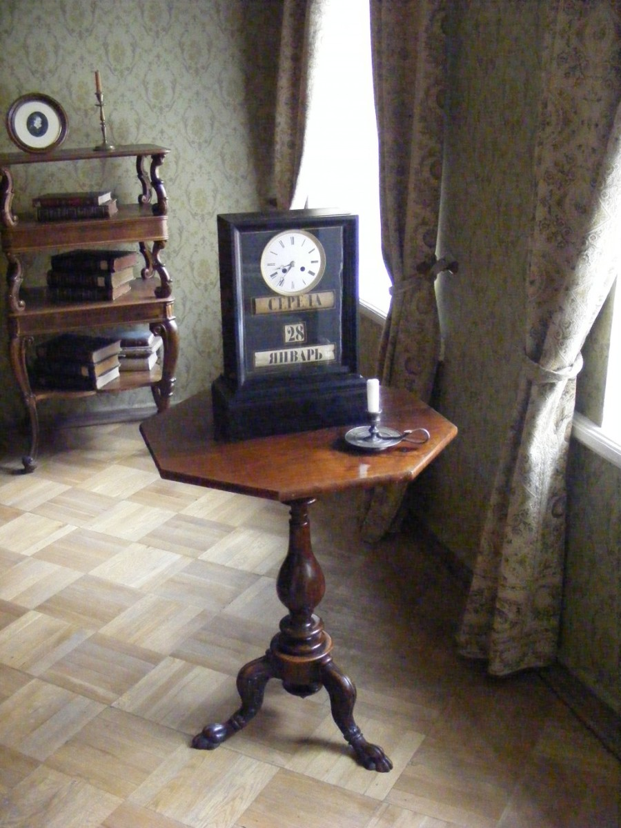 The clock shows the exact time of Dostoevsky's death.