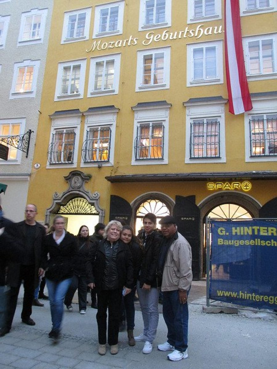 Where Mozart was born. Personal photo with two of our grandchildren REK
