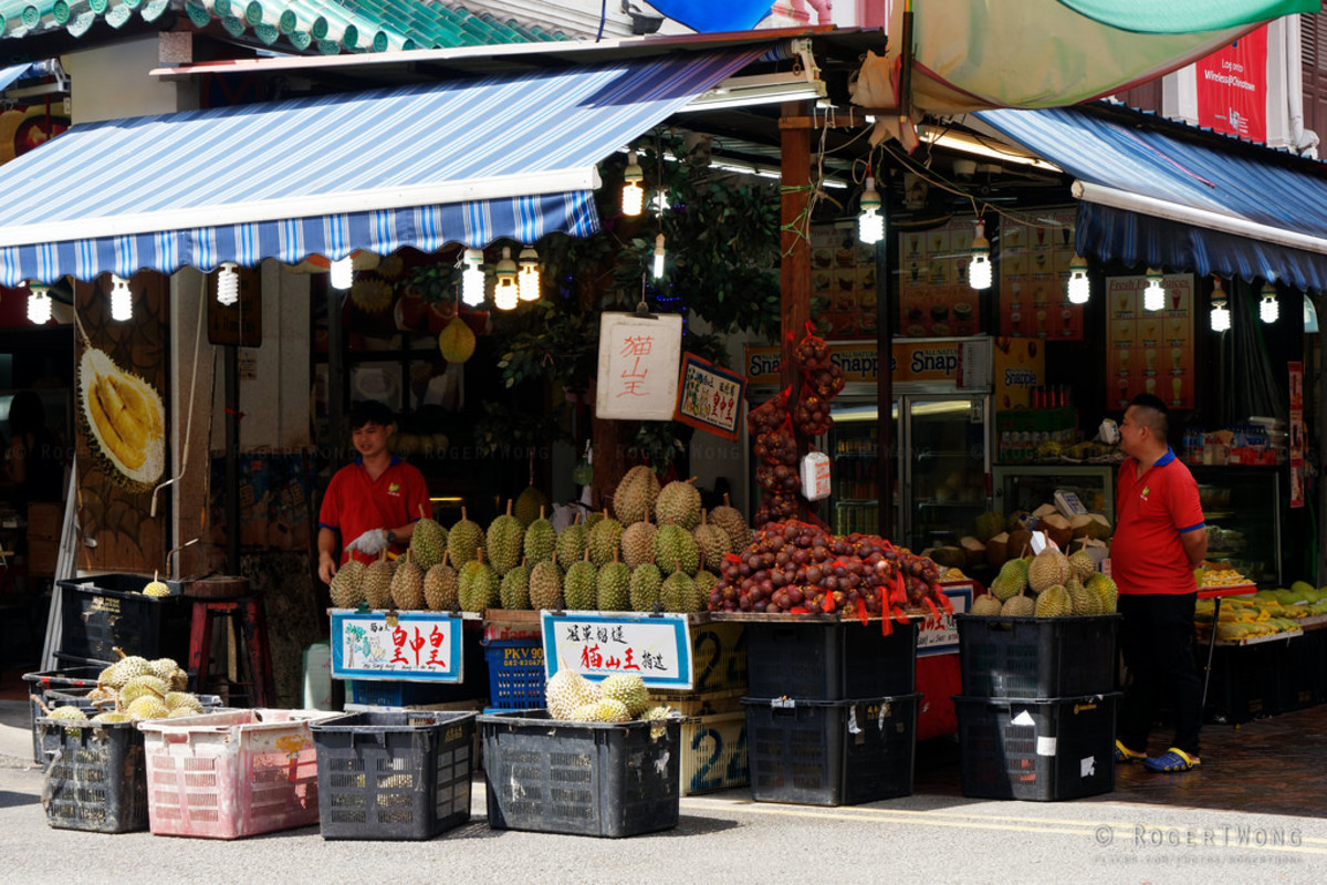 Durian Fruit, considered by some a delicious treat, on sale in Singapore's Chinatown