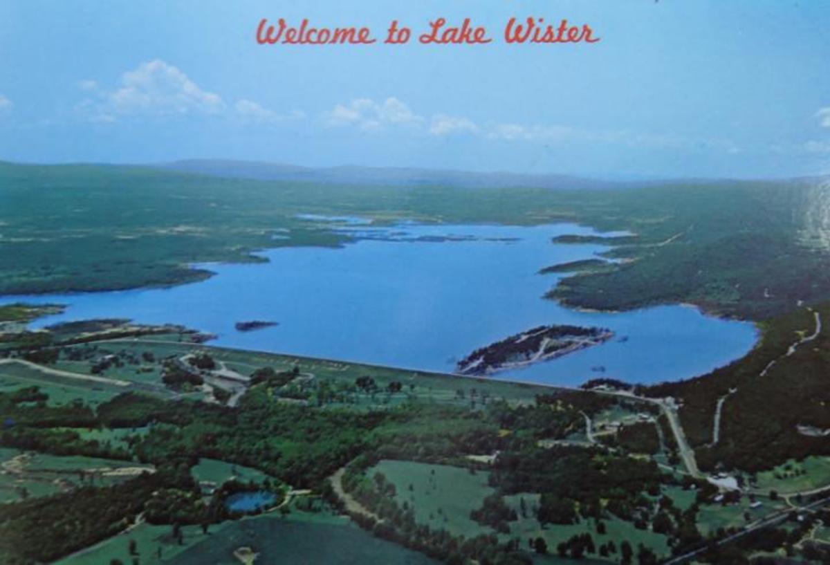 Postcard showing Lake Wister