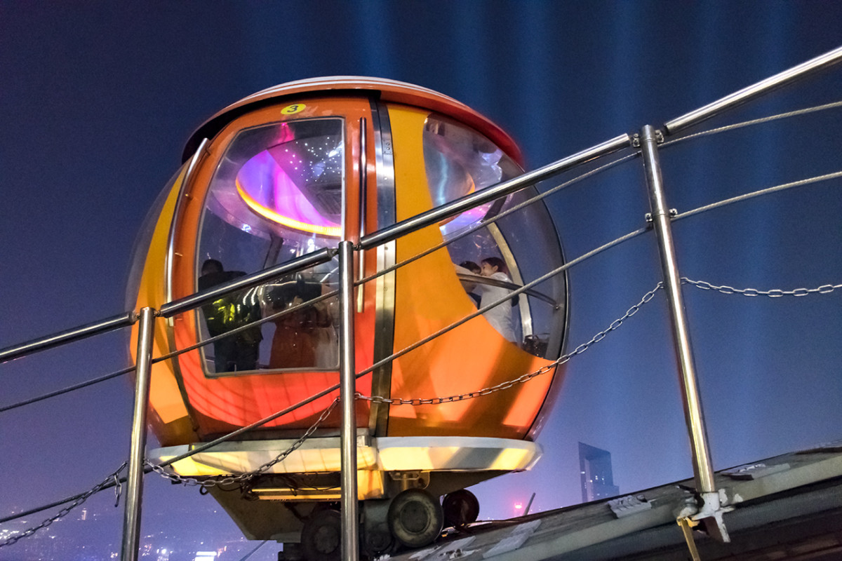 Close-up of a Canton Tower bubble tram carriage. One full circuit around the tower requires approximately 20 minutes.