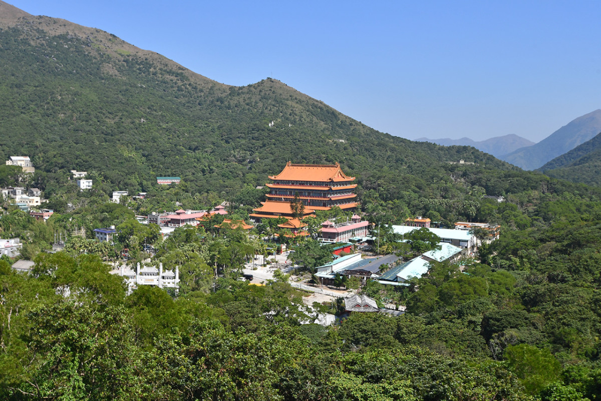 The whole of Po Lin Monastery can be clearly seen from Hong Kong's world-famous Big Buddha.