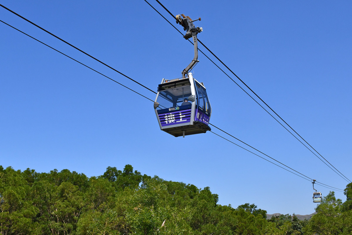 Cable cars just before Ngong Ping Terminus Station.