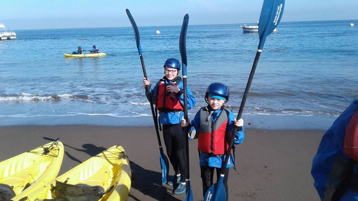 The author's 10 and 12 year old sons, prepared to kayak Channel Islands National Park.