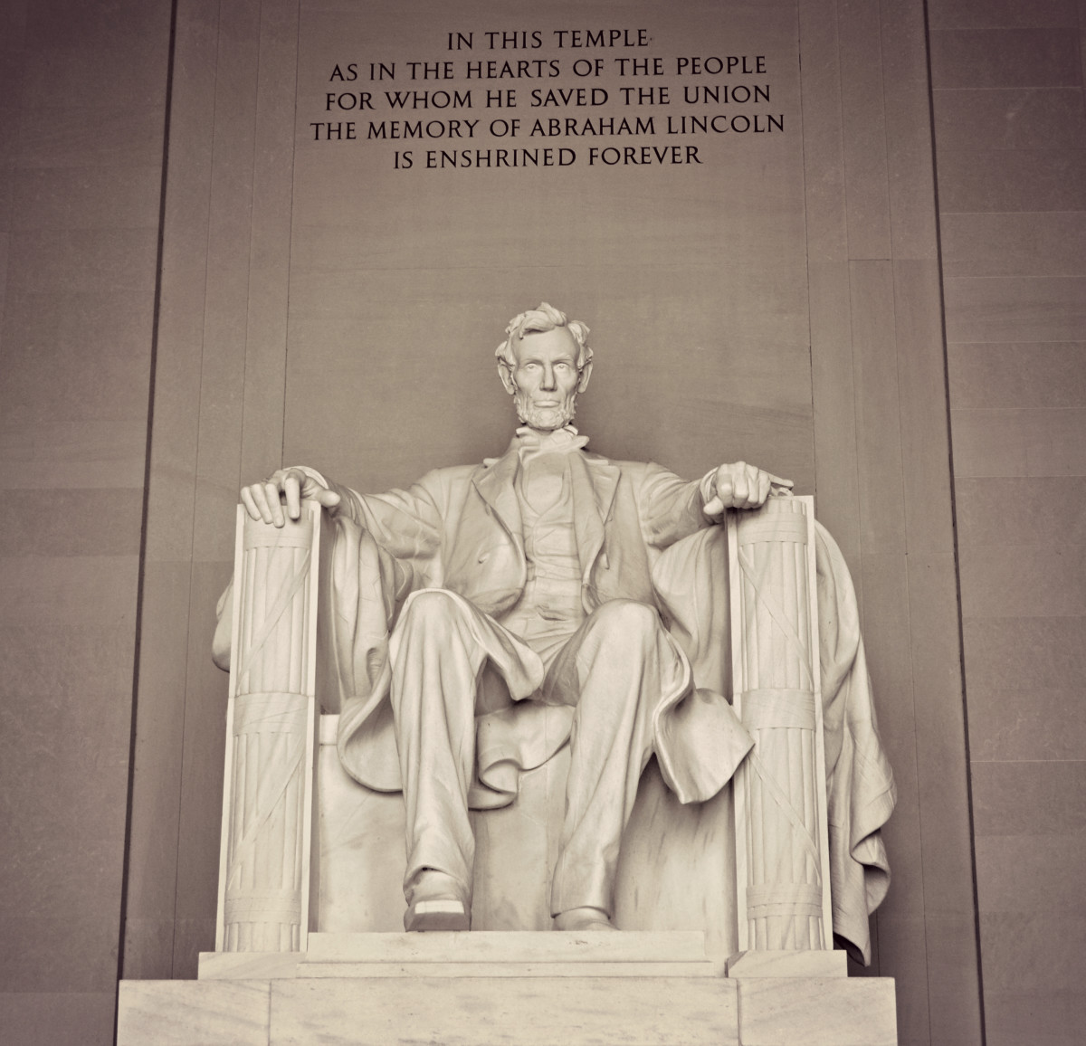The Lincoln Memorial is quite large and impressive.
