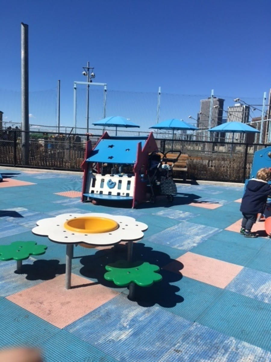 The toddler sized playgrounds at the Brooklyn Bridge Park is a great way to spend outdoor time with a toddler in New York City.