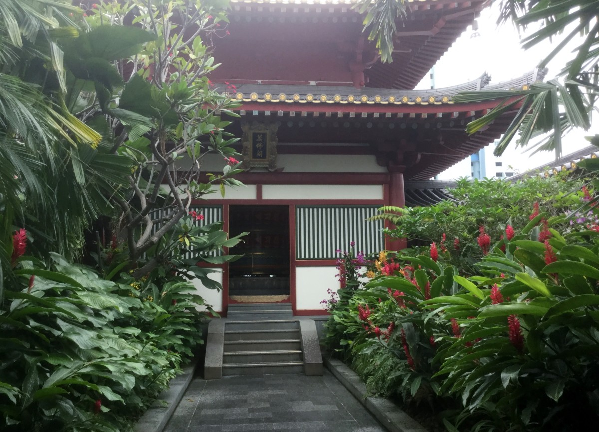 The rooftop garden. A place of calm and respite which houses many rare plants.  The pagoda houses the Buddha Tooth Relic Temple Prayer Wheel.