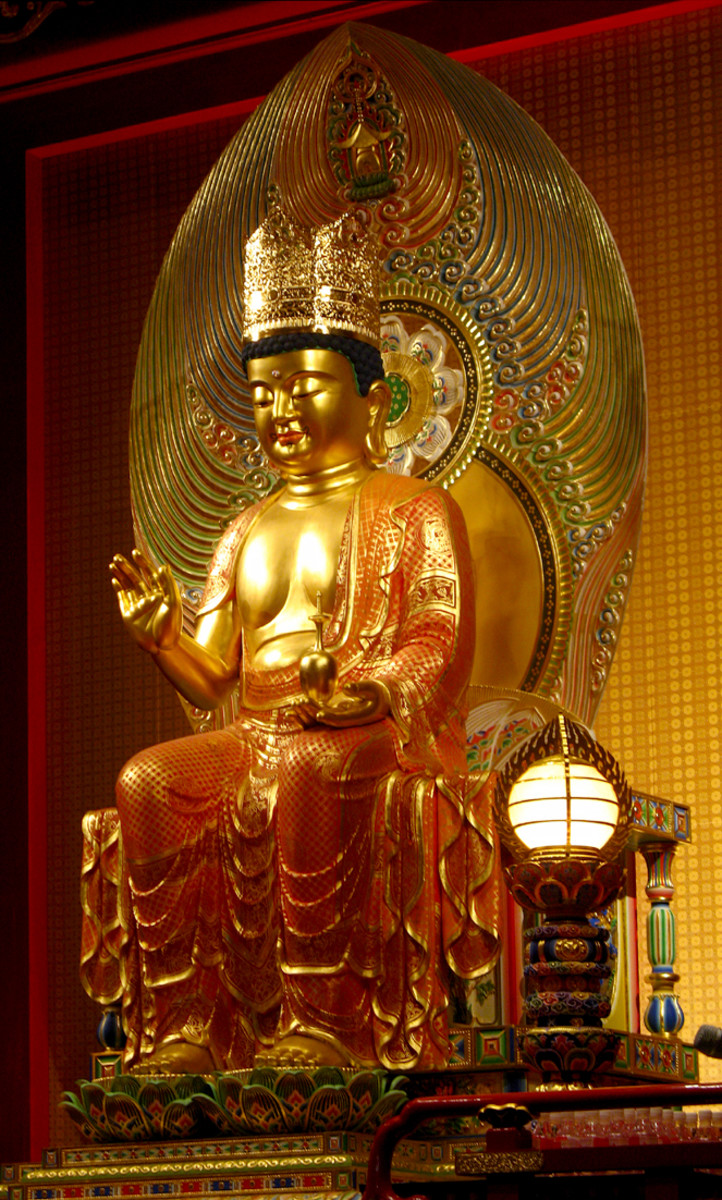 Statue of Maitreya Bodhisattva in the Hundred Dragons Hall, Singapore