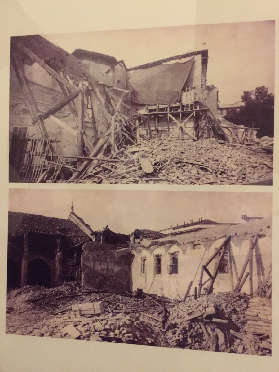 Last Supper (top covered with tarp) and Crucifixion (bottom) following bombing during WWII