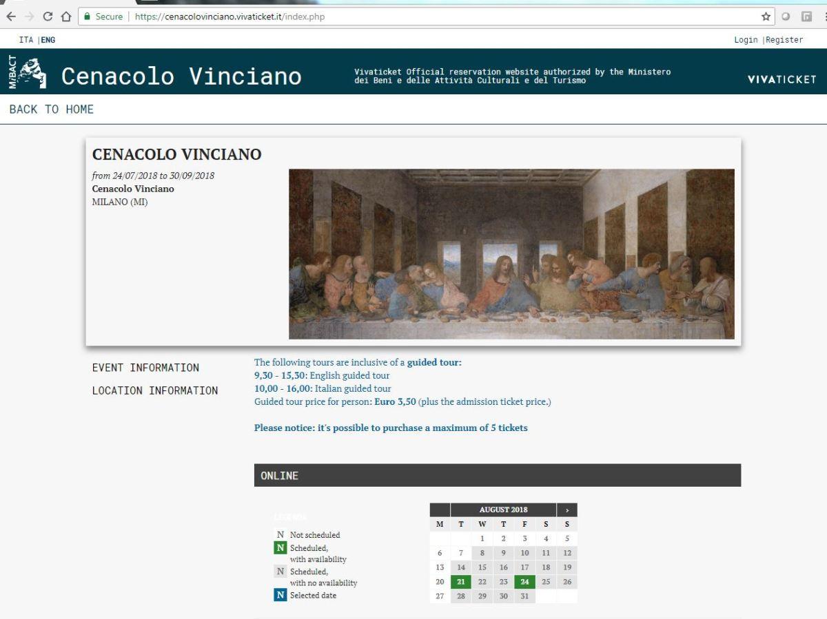 Screenshot of Last Supper website