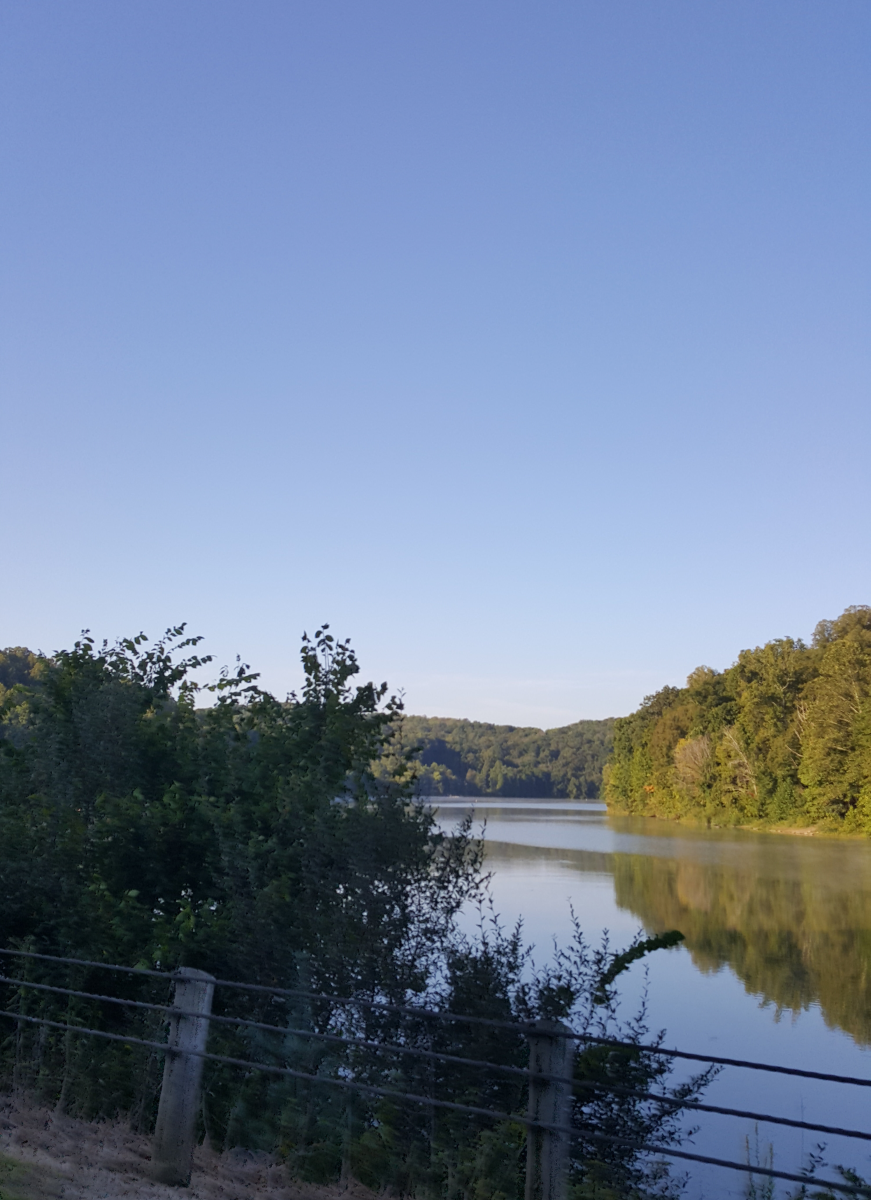 A gorgeous view of Salt Fork Lake driving into the park.