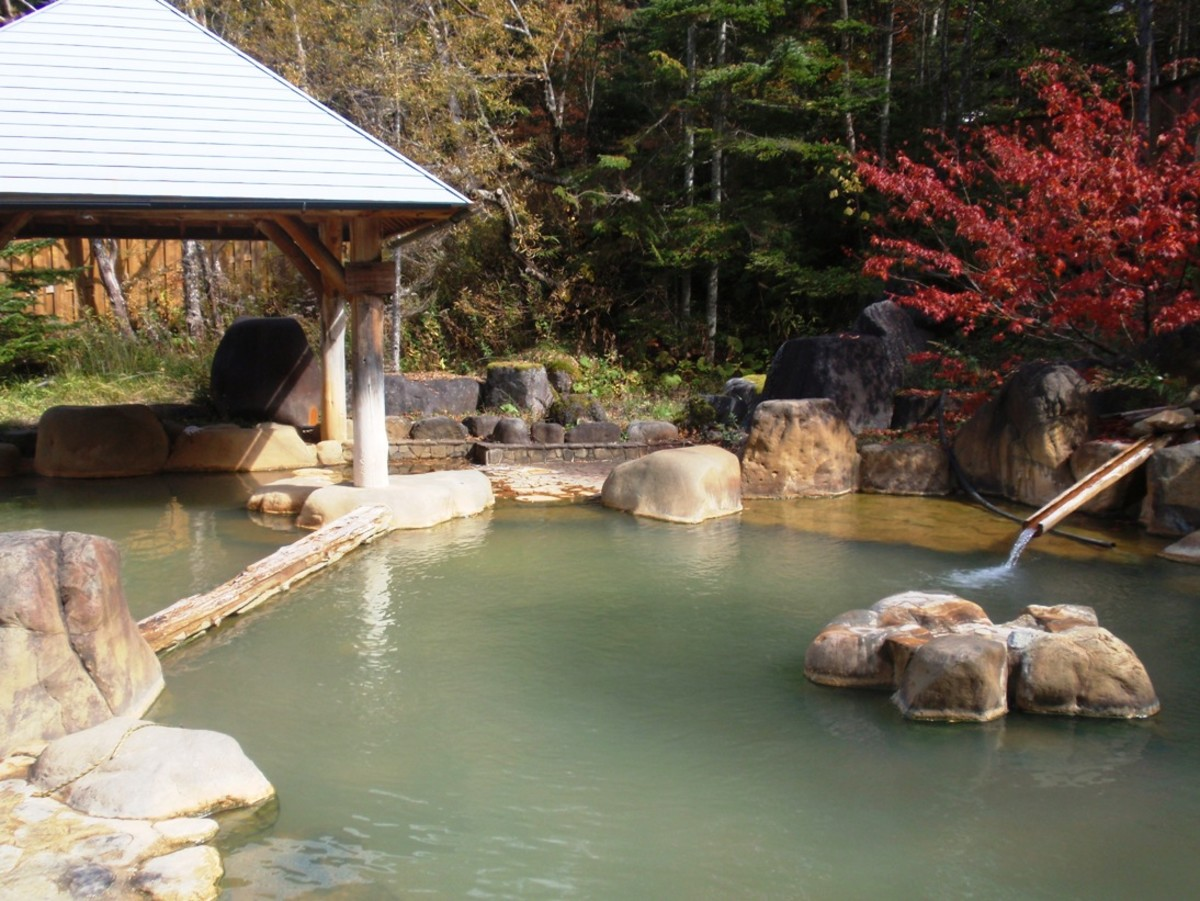 An outdoor onsen in Gero