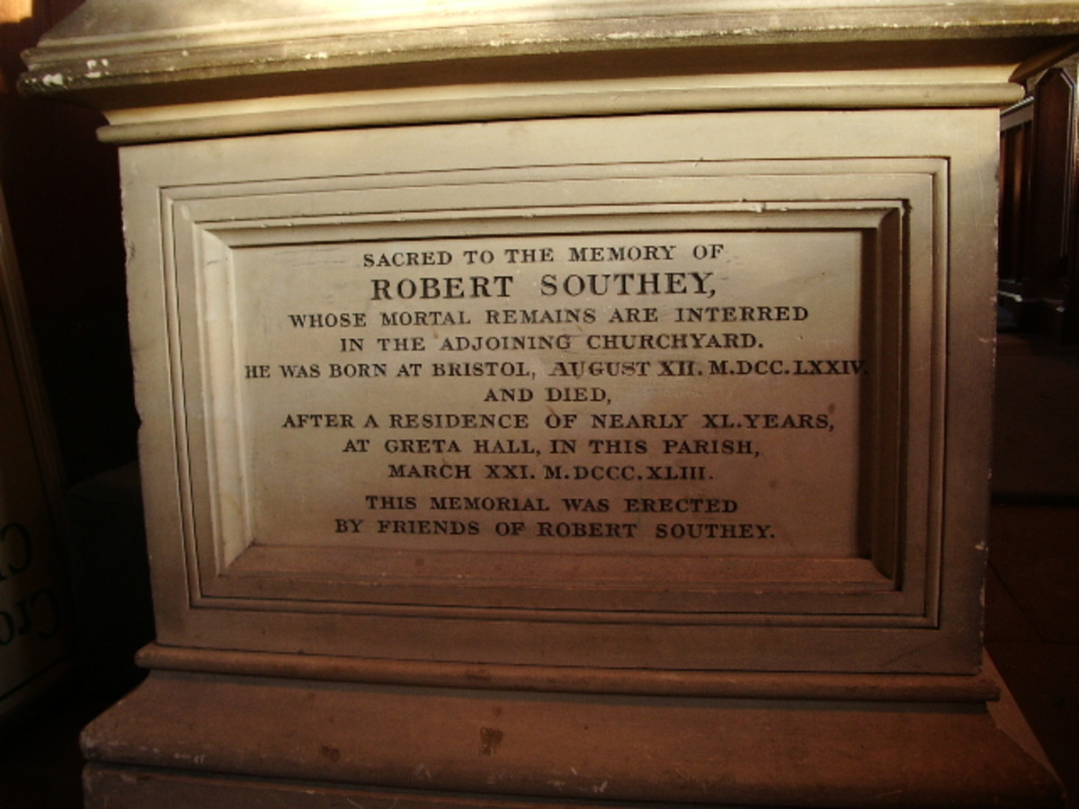Inscription on the memorial to Robert Southey in St. Kentigern's Church, Crosthwaite, Cumbria