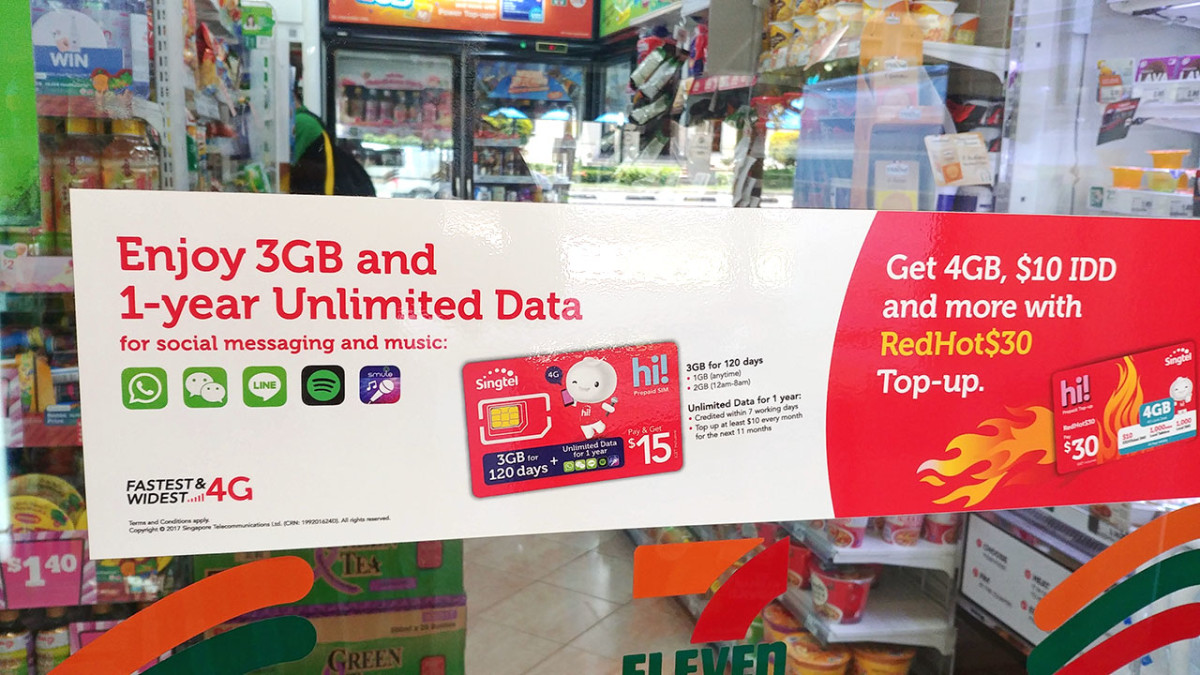 Promotion for pre-paid SIM cards in Singapore. These cards are great for tourists visiting Singapore on a budget.